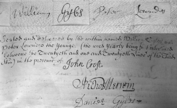 Signatures of William Gyles and Peter Lowndes