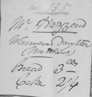 Ticket for Wenman's daughter