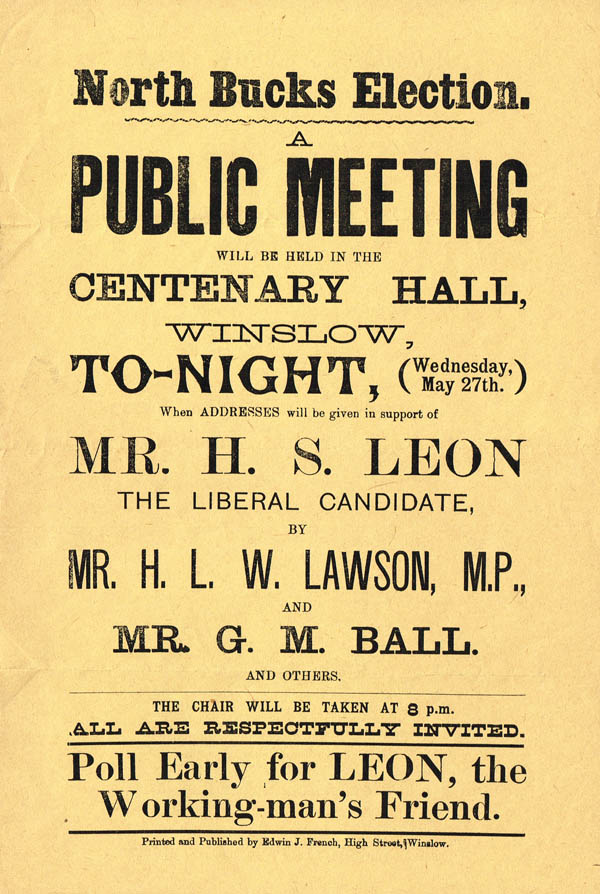 Poster for election meeting at Winslow