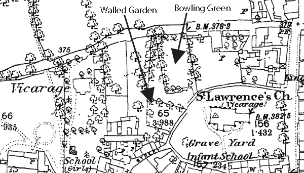 Map showing bowling green and walled garden