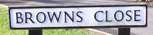 Browns Close road sign