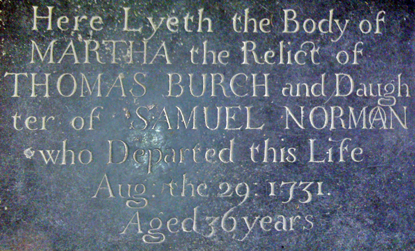 Memorial slab of Martha Burch