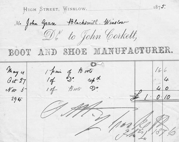 Billhead of John Corkett Boot & Shoe Manufacturer