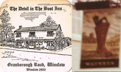 Devil in the Boot pub sign and beer mat