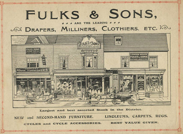 Fulks' advert with drawing of shops