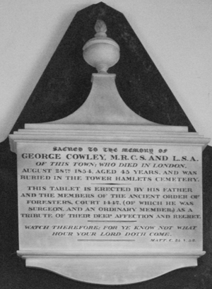 Memorial tablet for George Cowley