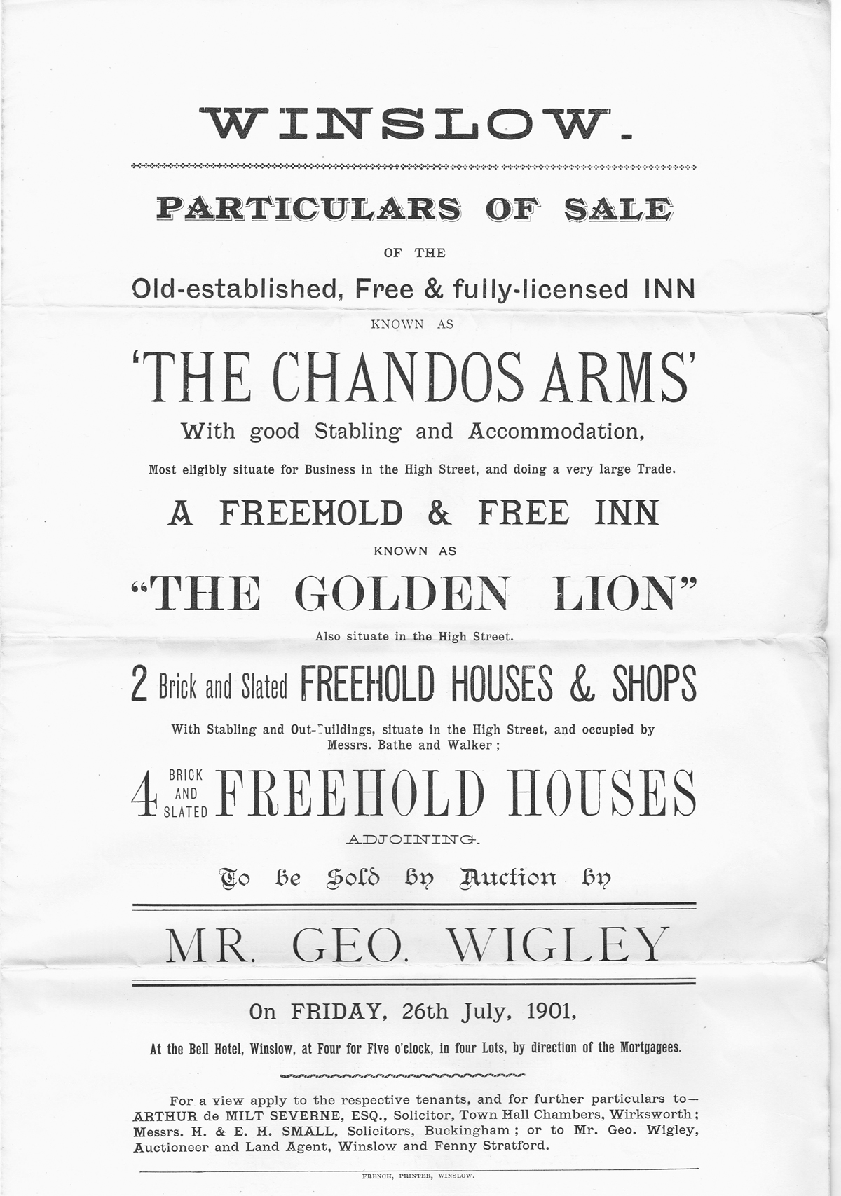 Sale poster for Chandos Arms and Golden Lion