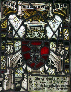 Stained glass window showing dedication
