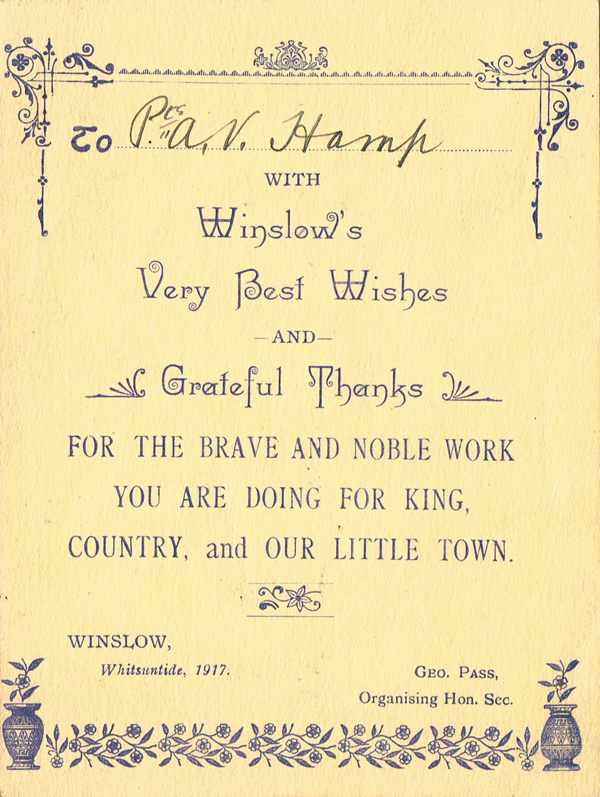 Card sent to Albert Hamp