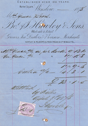 J Hawley & sons bill 1878