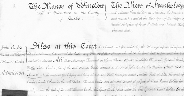 Upper left part of John Curtis's deed