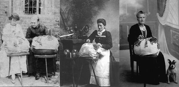 Three images of seated women with lace pillows