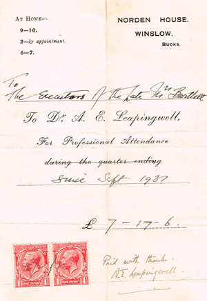 Bill from Dr Leapingwell 1931