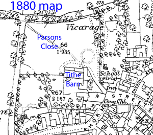 Map showing Parsons Close and barn