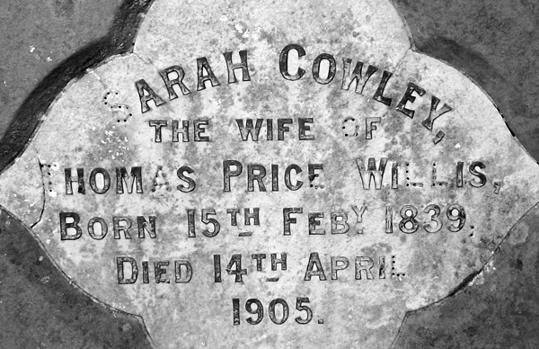 Epitaph of Sarah Cowley Willis