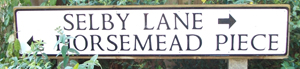 Road sign for Selby Lane and Horsemead Piece