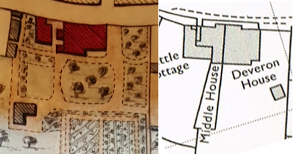 Plan of The Cottage in 1883 and 1978