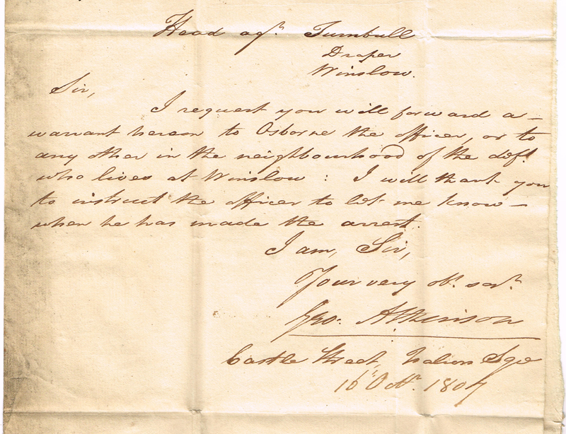 Letter concerning the arrest of John Turnbull in 1807