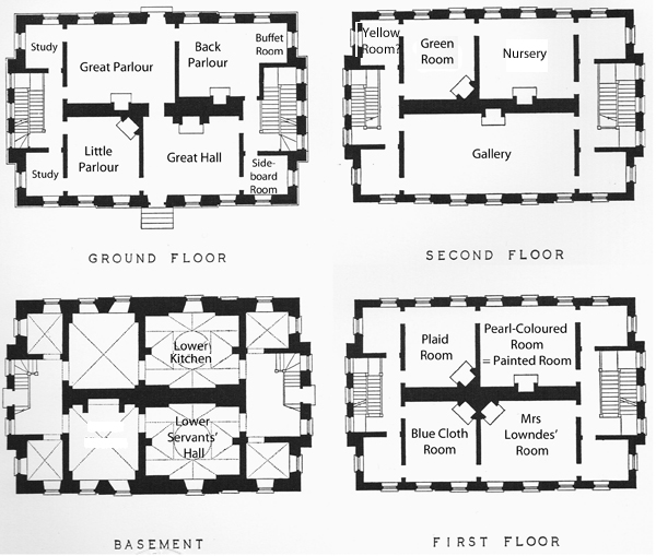 Plan of 4 floors of Winslow Hall