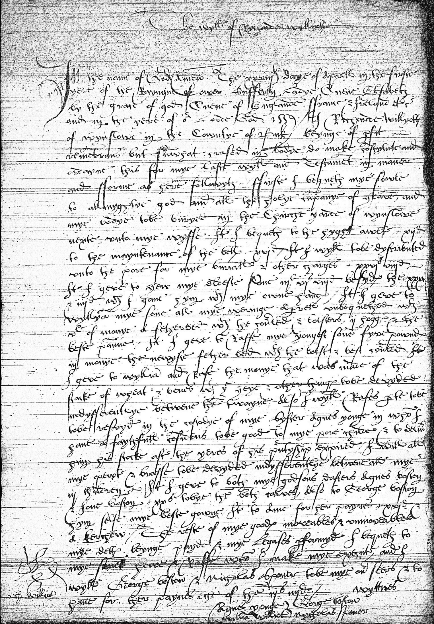 Will of Richard Wyllyott