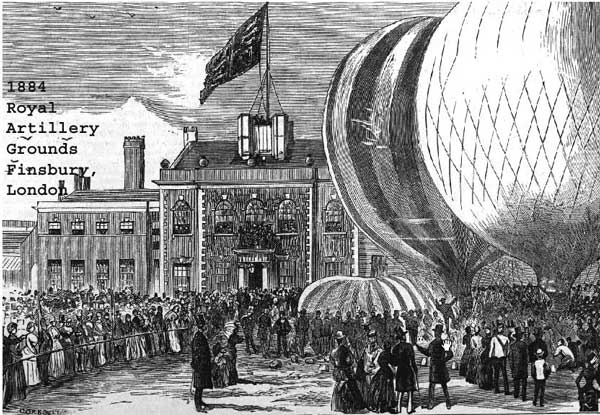 Drawing of the balloons taking off from Finsbury Park