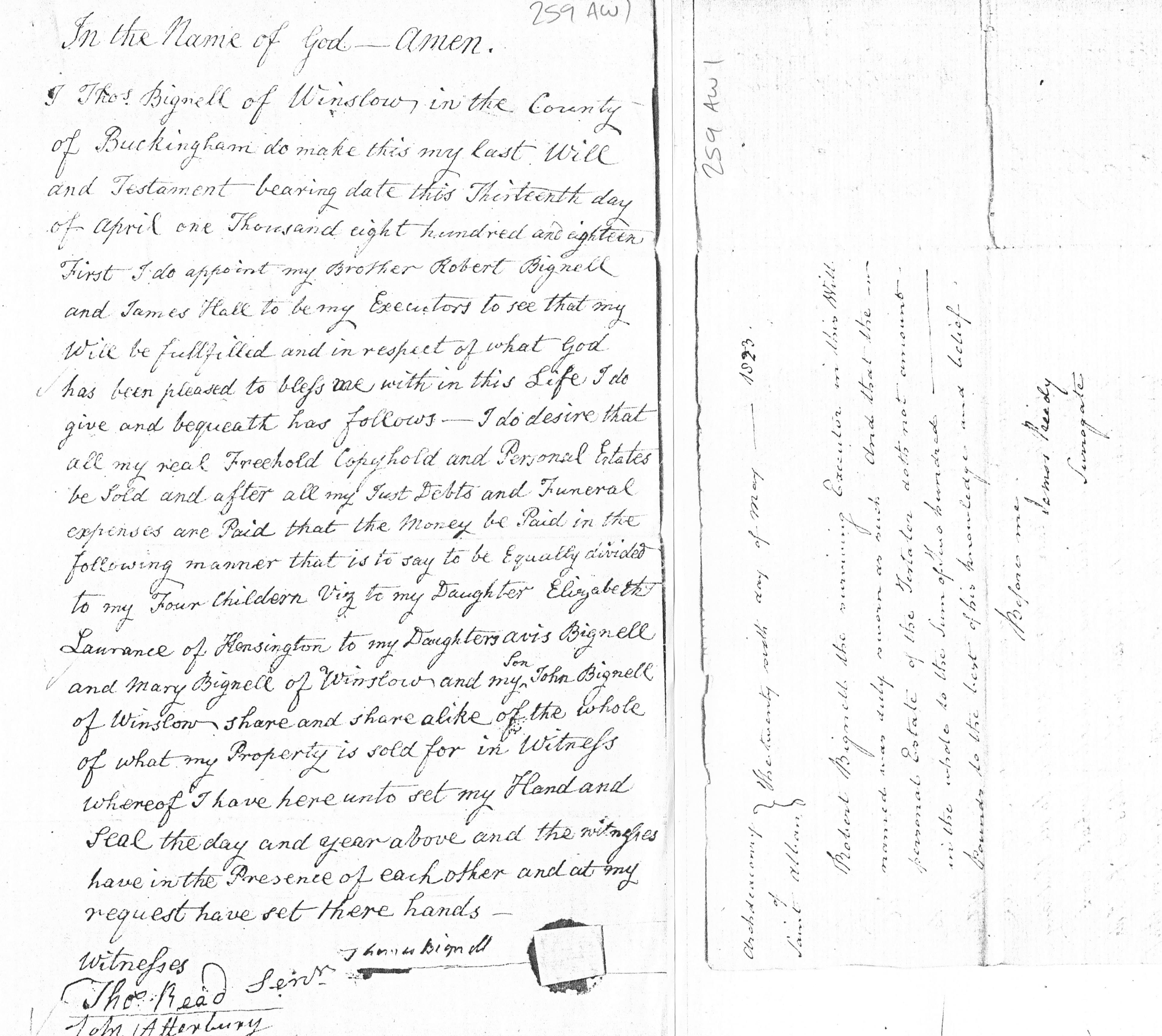 Will of Thomas Bignell