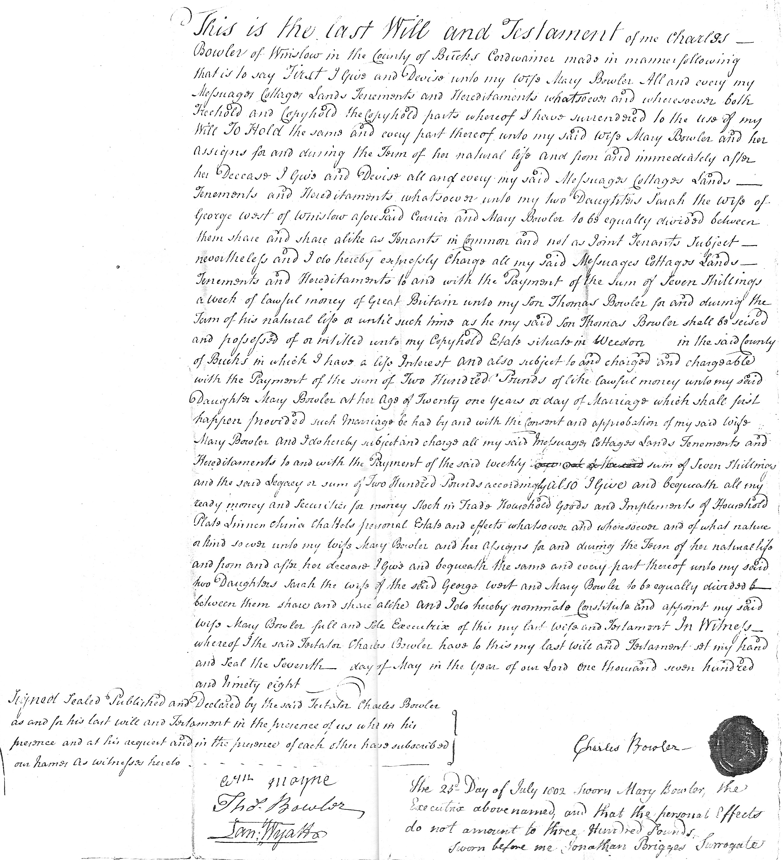 Will of Charles Bowler