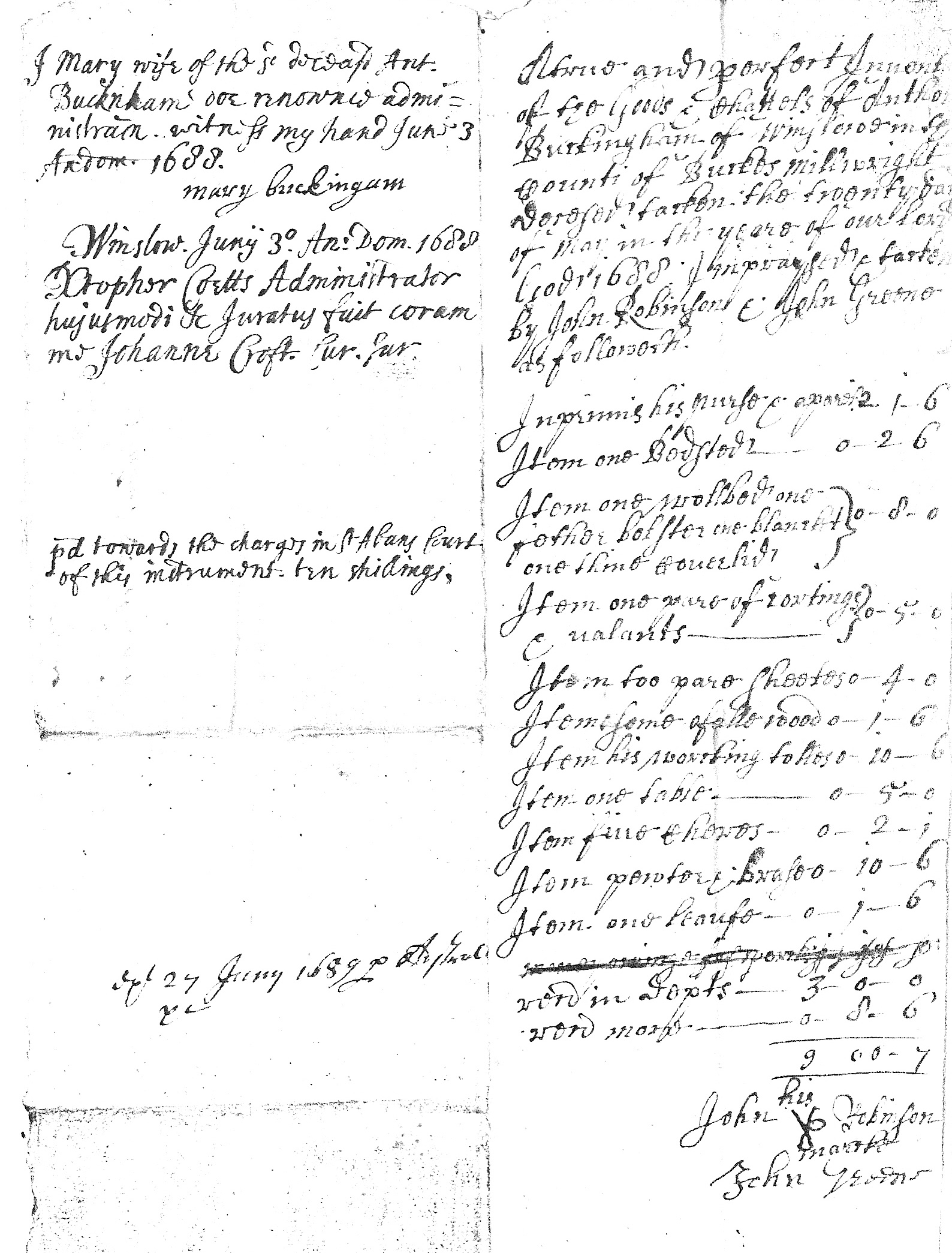 Inventory of Anthony Buckingham