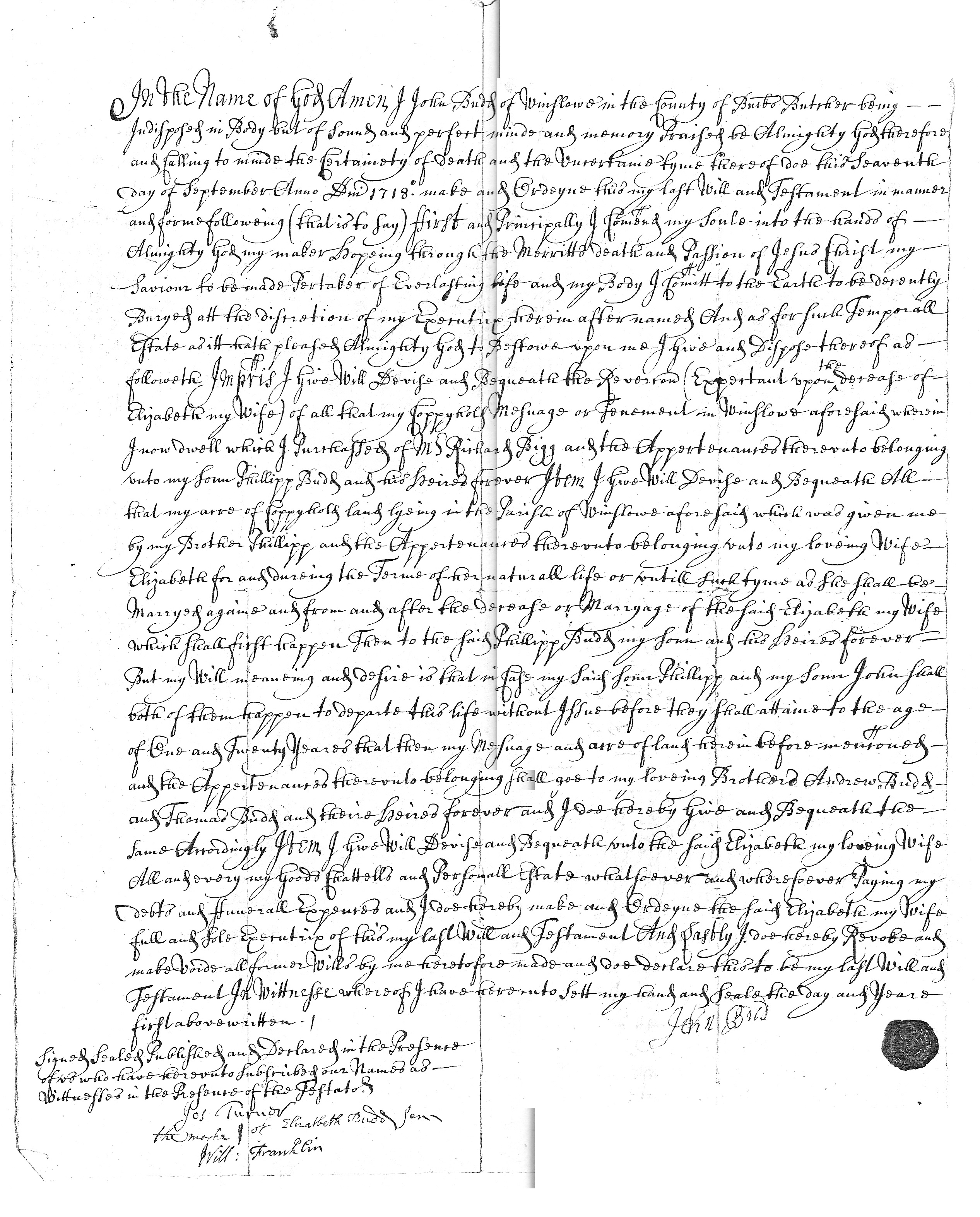 Will of John Budd