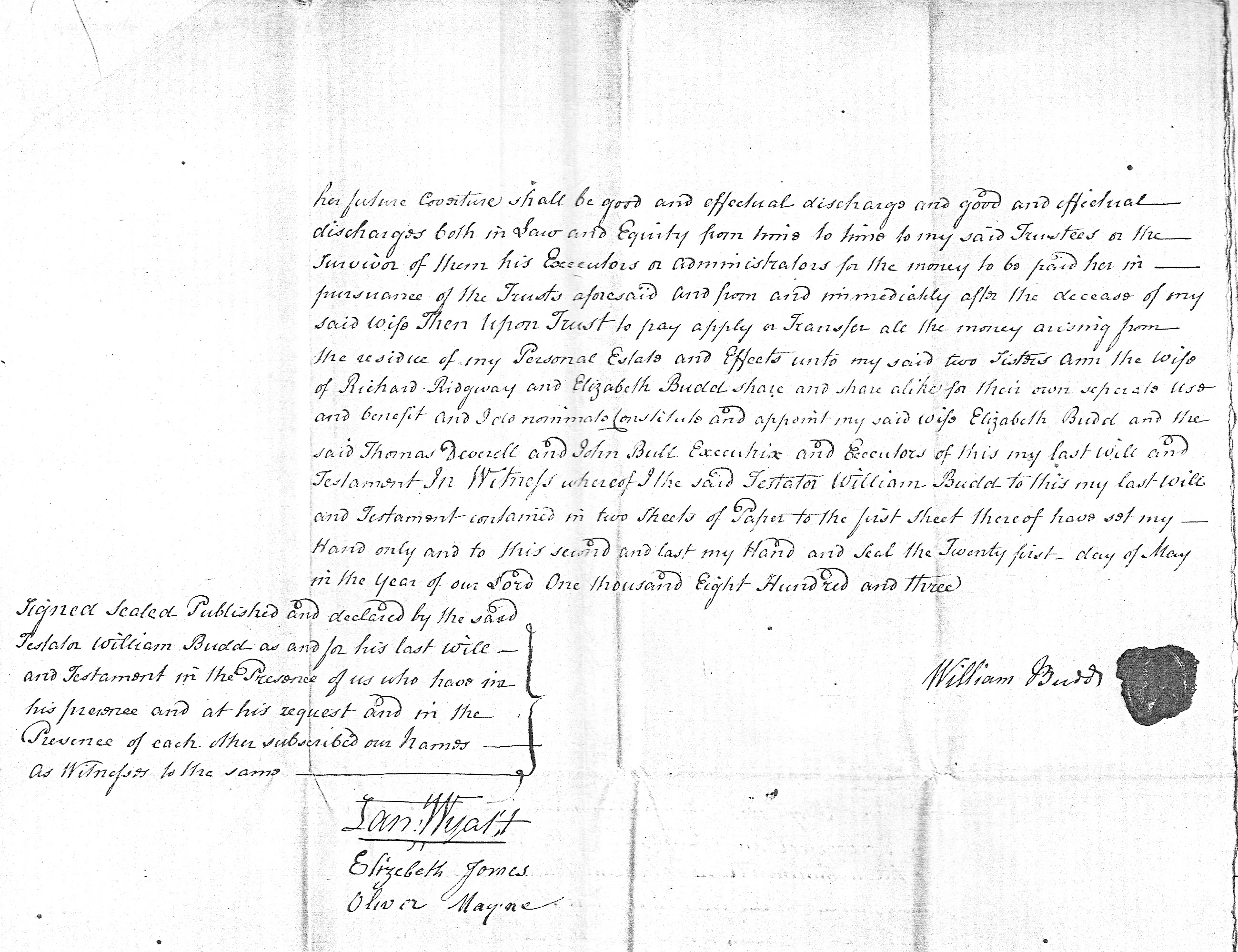 Will of William Budd p2