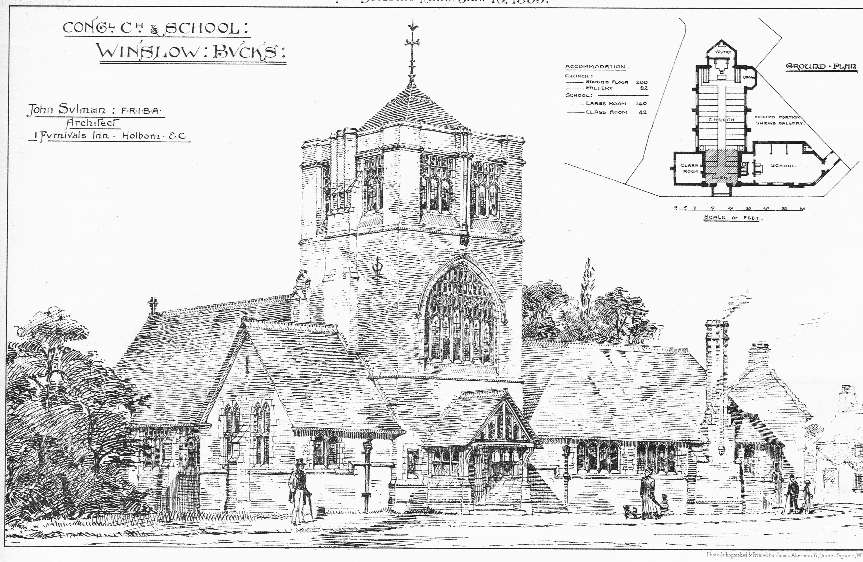 Drawing and plan of the Congregational Church