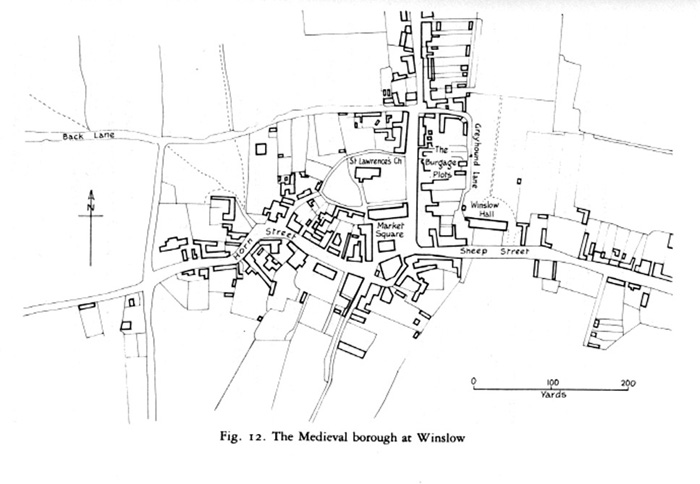 Map of Winslow showing the burgage plots