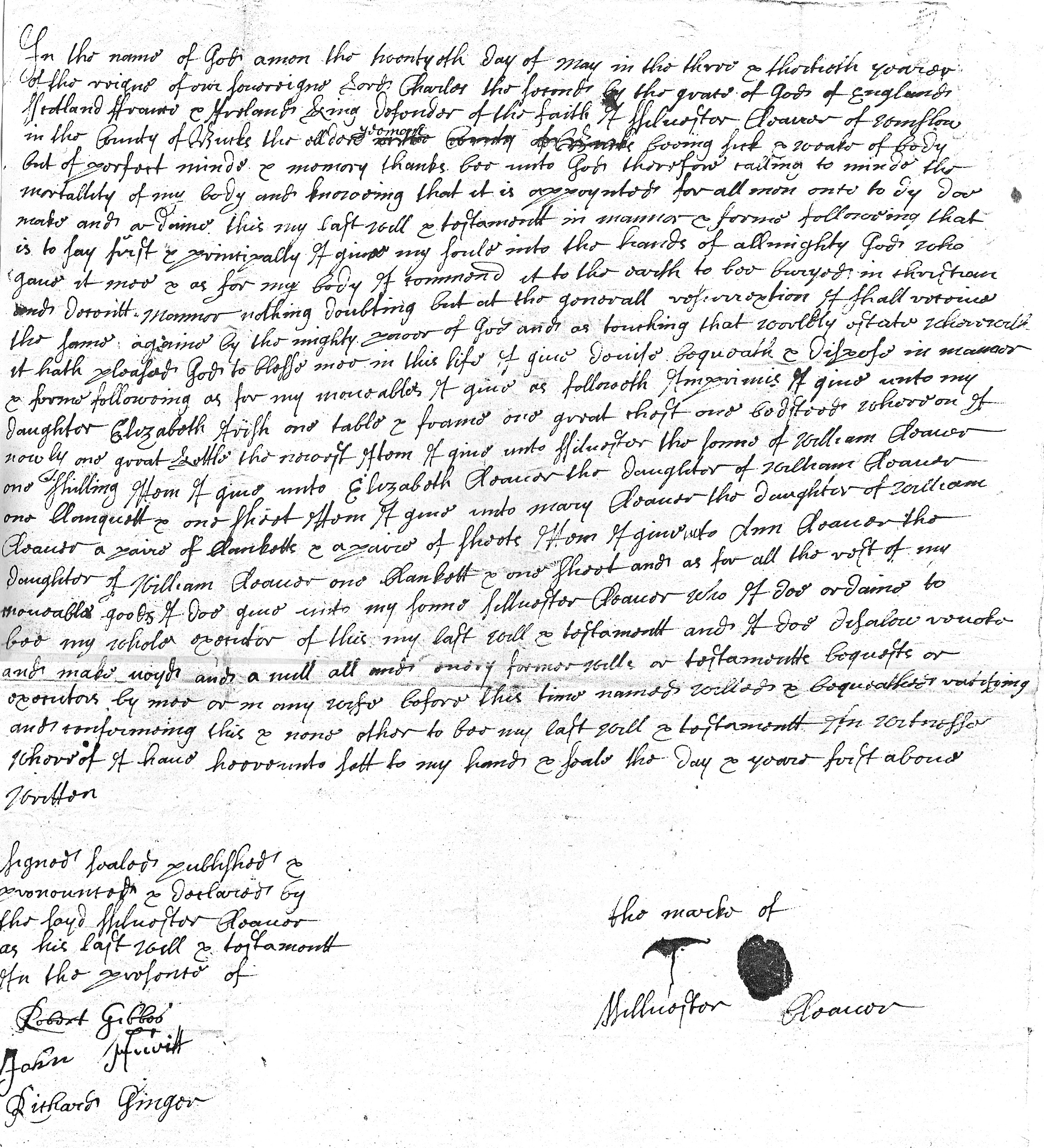 Will of Silvester Cleaver