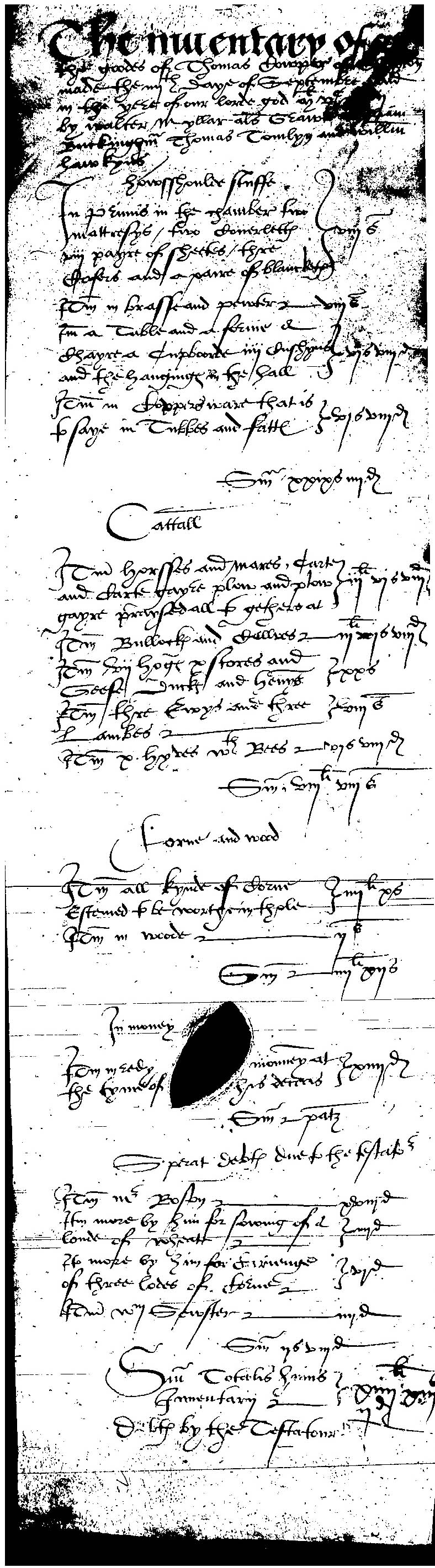 Inventory of Thomas Cowper