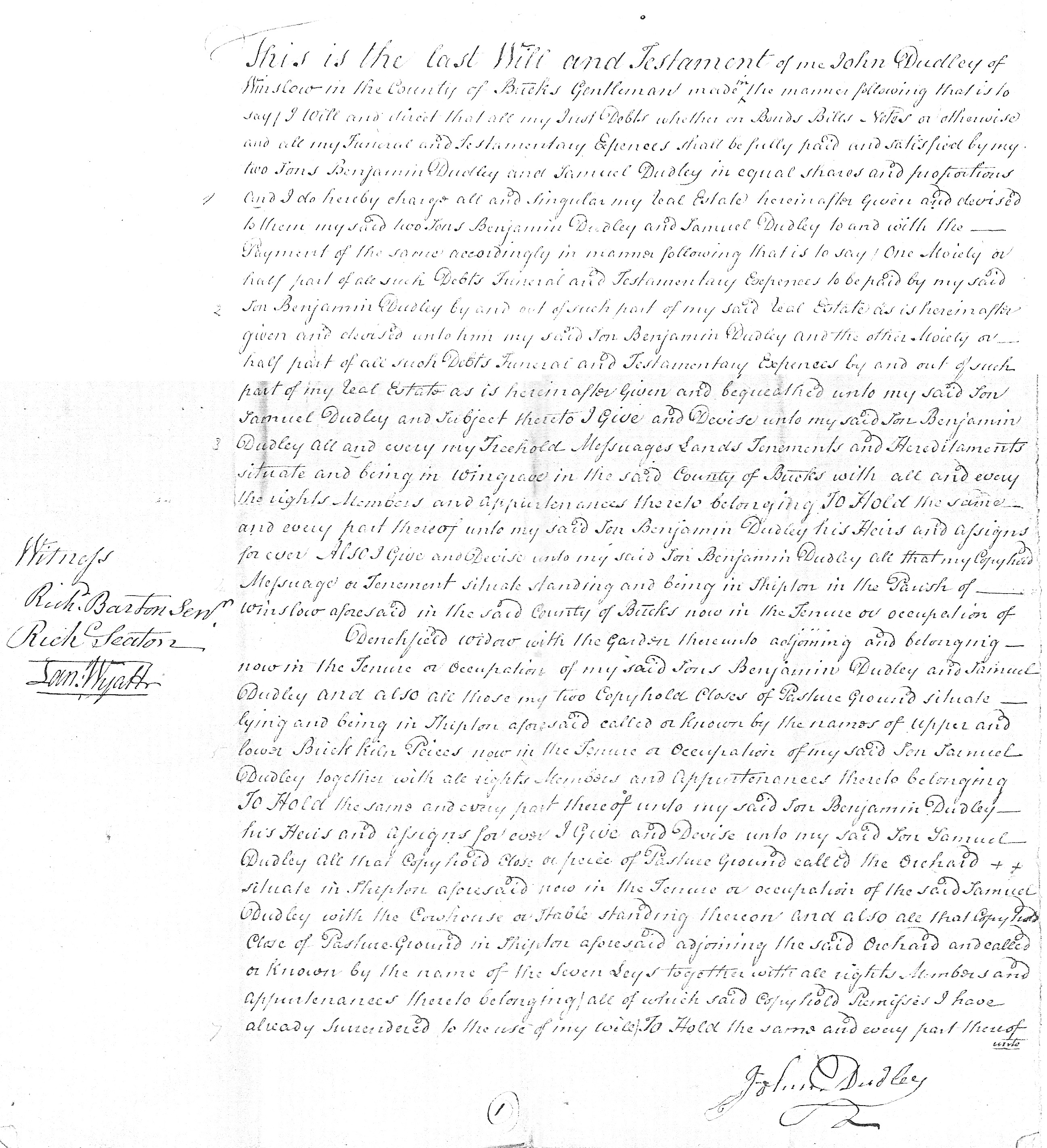 Will of John Dudley p1