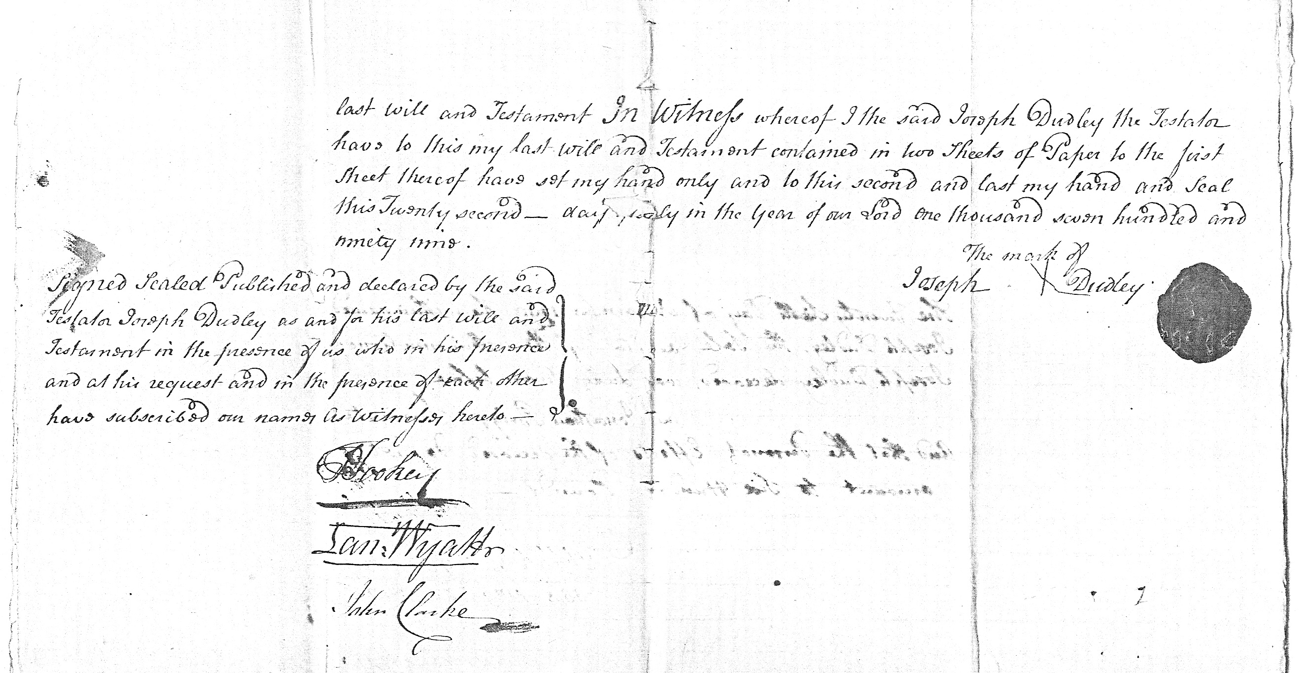 Will of Joseph Dudley p2