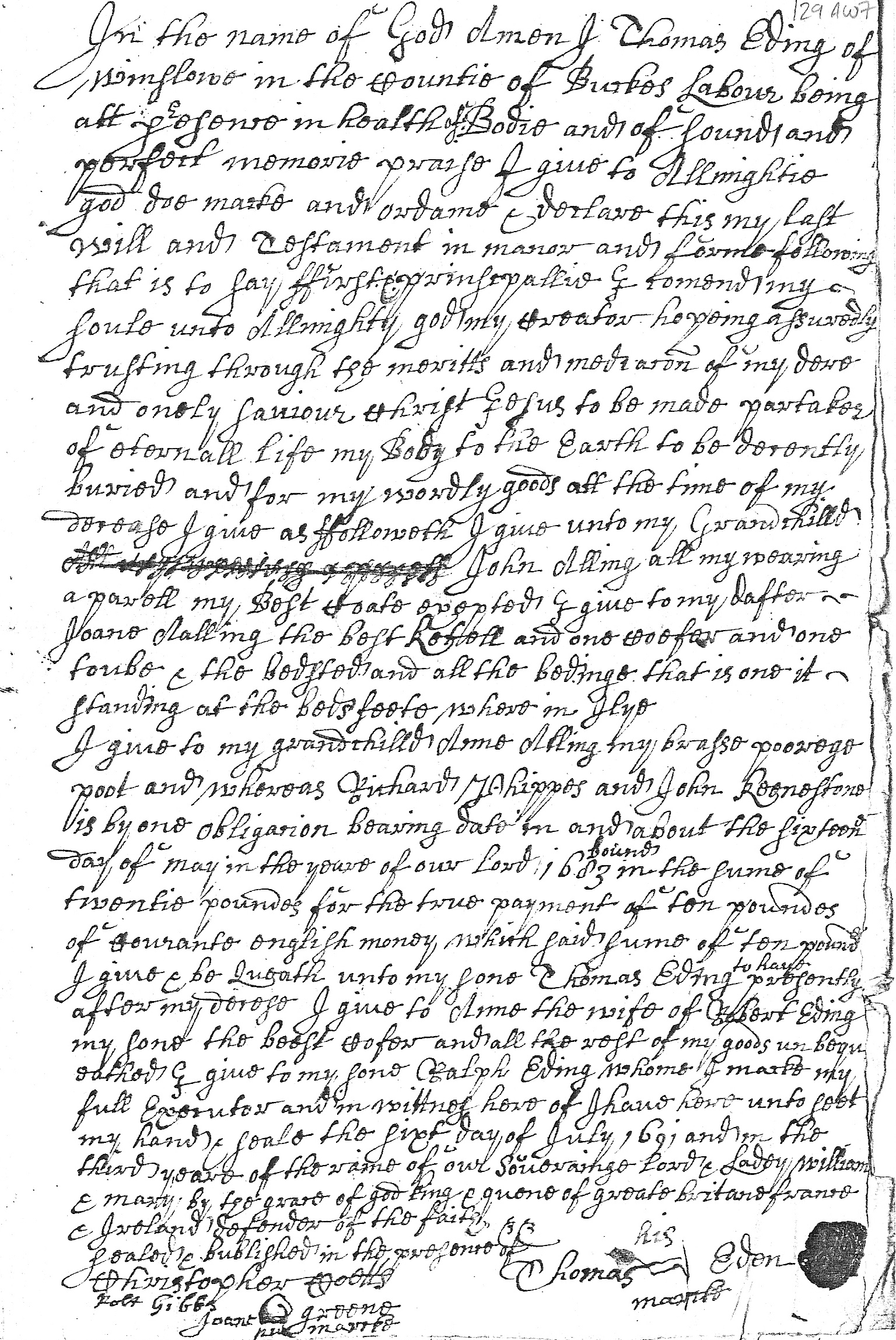 Will of Thomas Eden