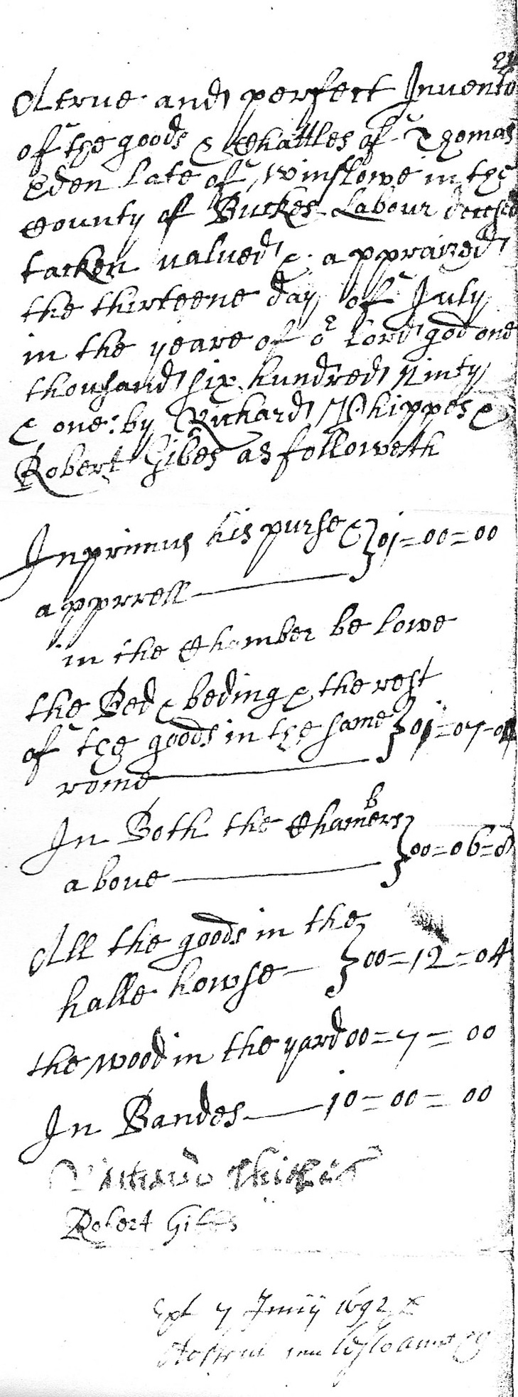 Inventory of Thomas Eden