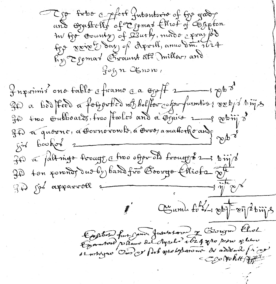 Inventory of Thomas Elliott