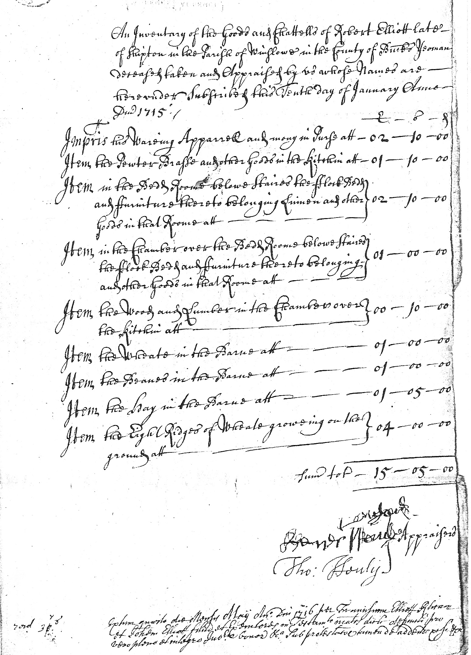 Inventory of Robert Elliott