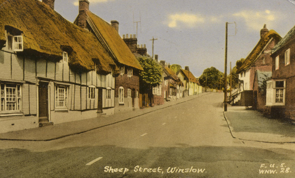 Colour postcard of Sheep Street, looking east