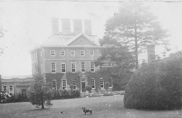 North front of Winslow Hall with dog