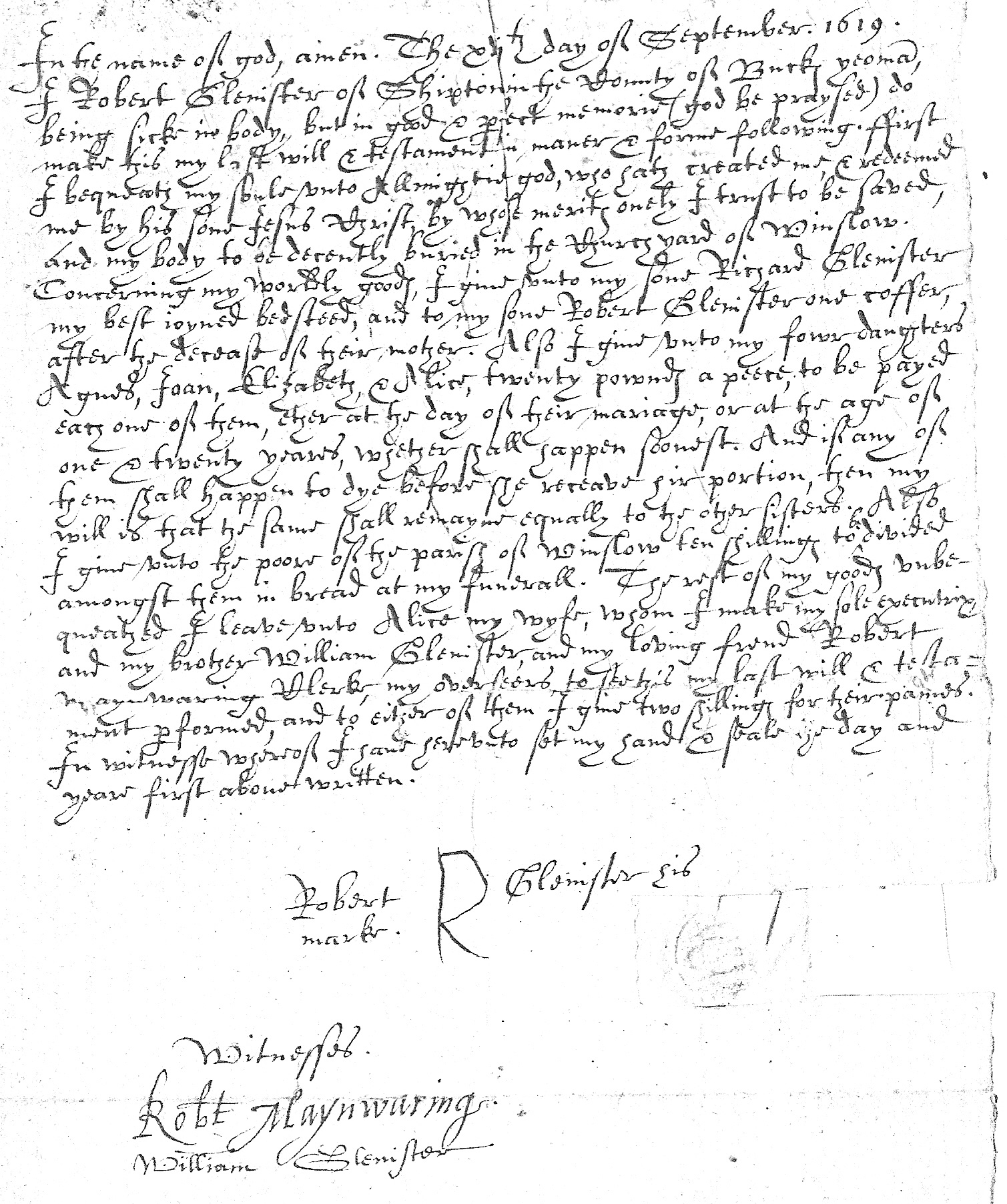 Will of Robert Glenister