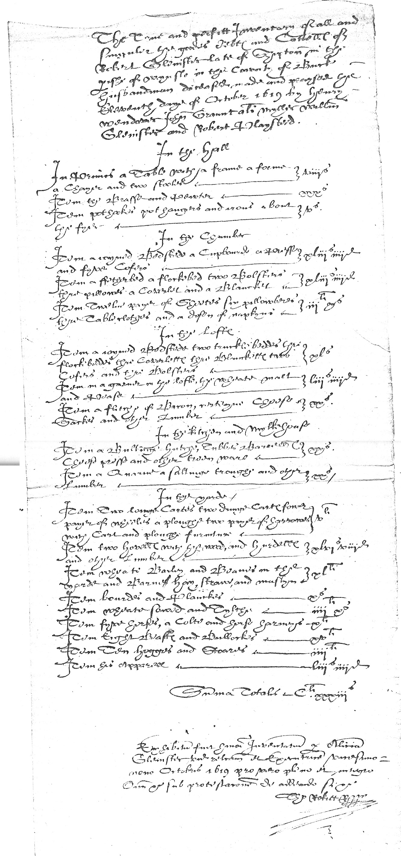Inventory of Robert Glenister