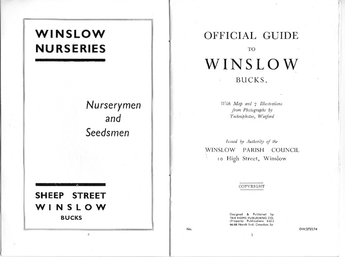 Advert for winslow Nurseries, title page