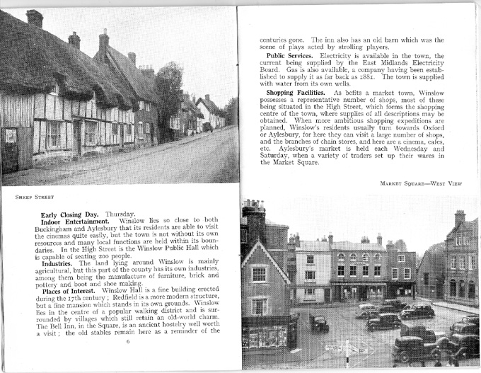 Text on Winslow, photos of Sheep Street, Market Square