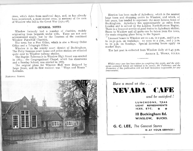 General notes, photo of the school, advert for Nevada Cafe