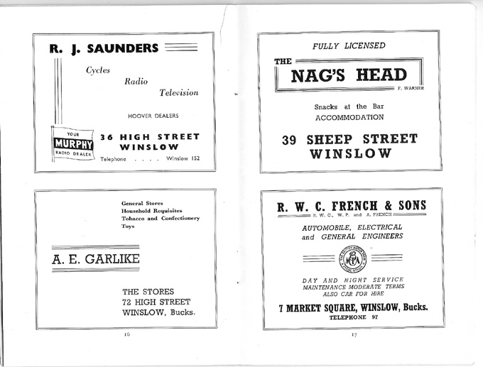 Adverts for Saunders, Garlike, Nag's head, French