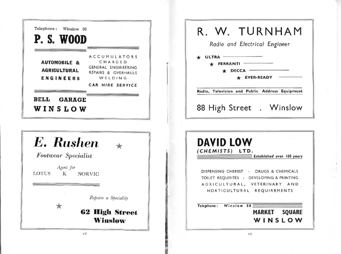 Adverts for Wood, Rushen, Turnham, Low