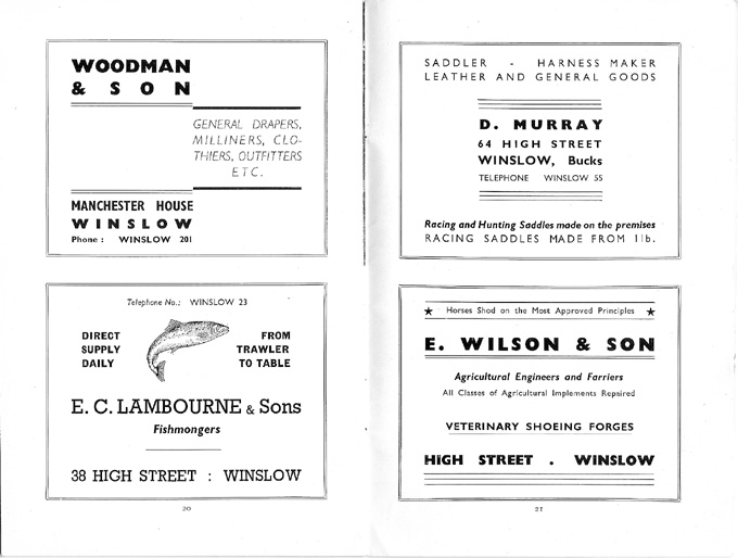 Adverts for Woodman, lambourne, Murray, Wilson